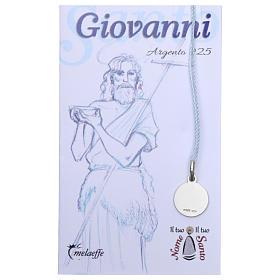 Medaglia San Giovanni Battista Argento 925 rodiata 10 mm s2