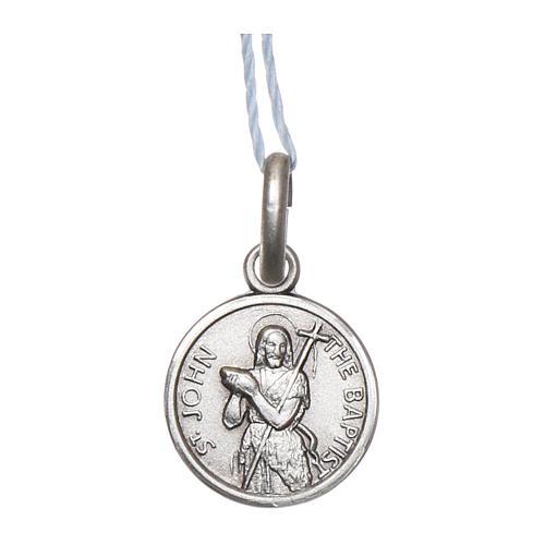 Medaglia San Giovanni Battista Argento 925 rodiata 10 mm 1
