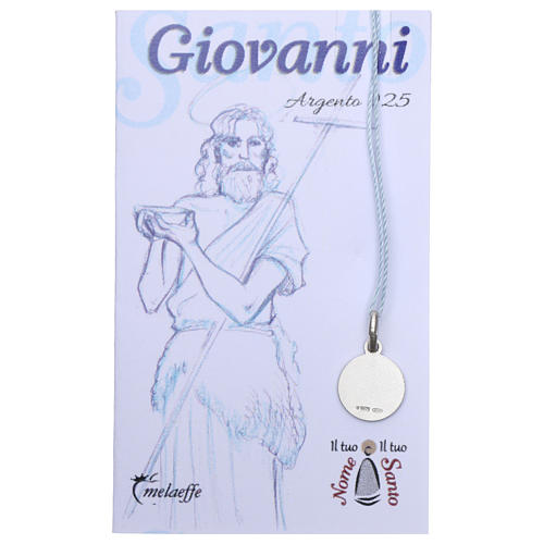 Medaglia San Giovanni Battista Argento 925 rodiata 10 mm 2