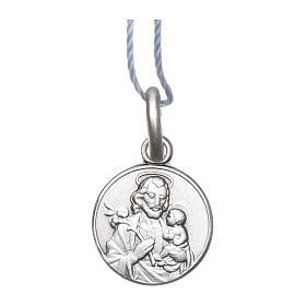 Colgantes, cruces y broches: Medalla San José Plata 925 rodiada 10 mm