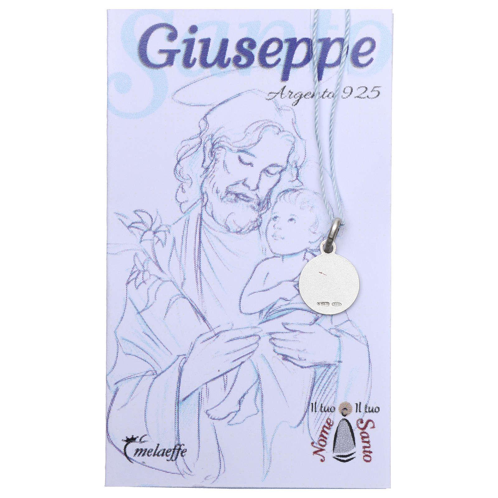 Médaille St Joseph argent 925 rhodié 10 mm 4