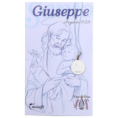 Médaille St Joseph argent 925 rhodié 10 mm 2