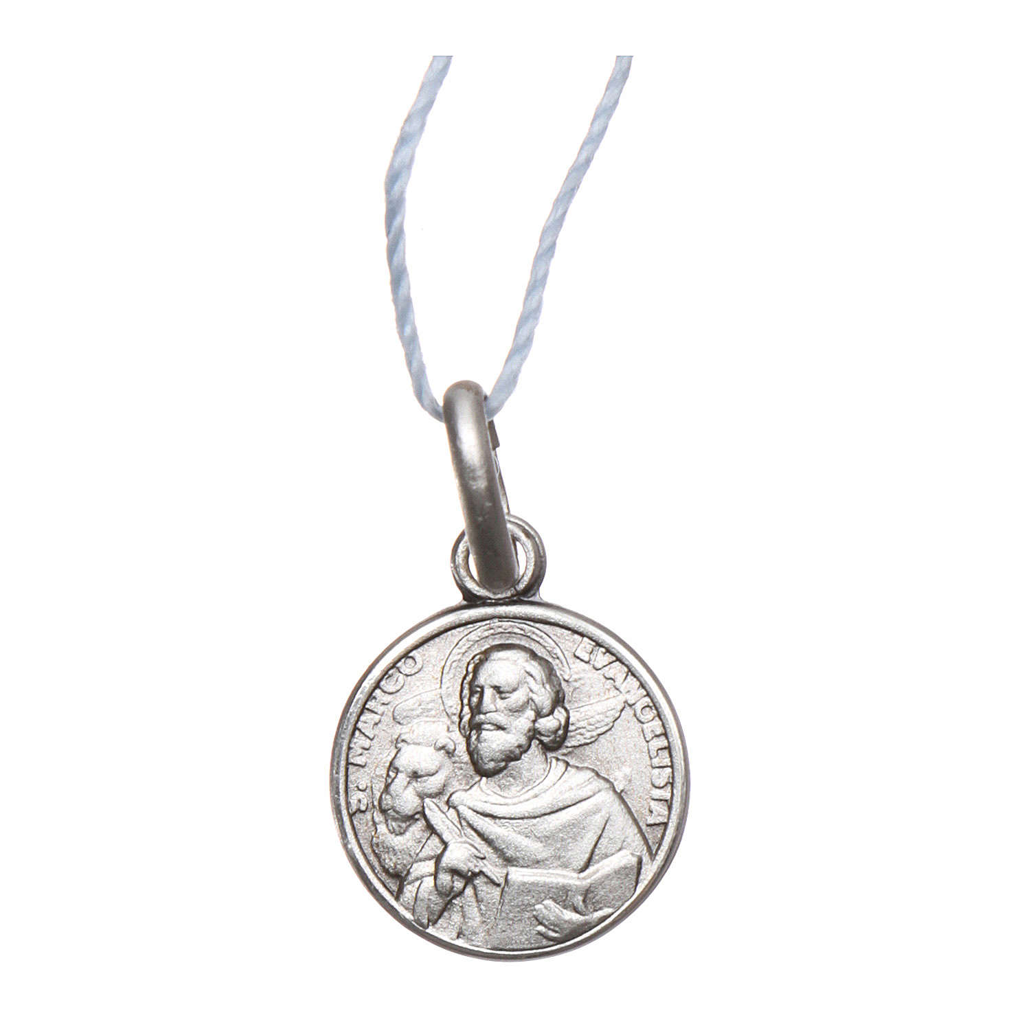 Rhodium plated medal with St. Mark the Evangelist 10 mm 4