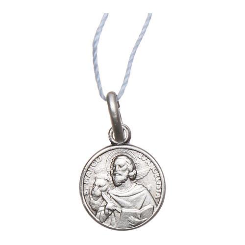 Medaglia San Marco Evangelista Argento 925 rodiata 10 mm 1