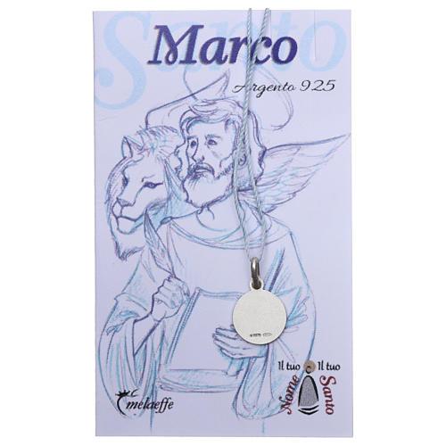 Medaglia San Marco Evangelista Argento 925 rodiata 10 mm 2