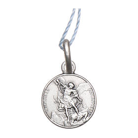 Rhodium plated medal with St. Michael the Archangel 10 mm s1