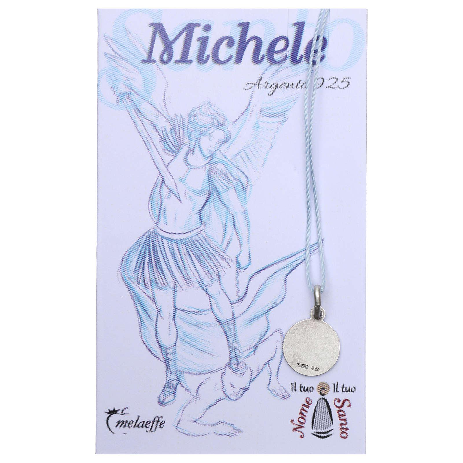 Medaglia San Michele Arcangelo Argento 925 rodiata 10 mm 4