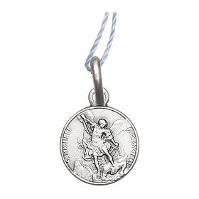 Saint Michael the Archangel medal 925 silver finished in rhodium 0.39 in s1