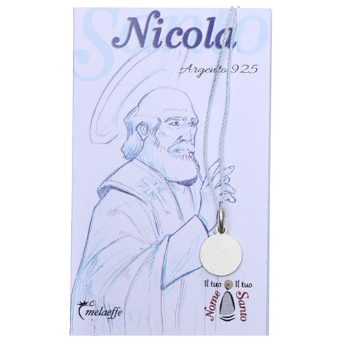 Rhodium plated medal with St. Nicholas of Bari 10 mm 2