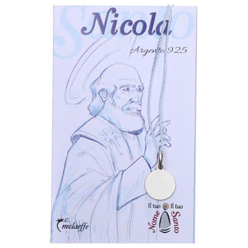 Medaglia San Nicola di Bari Argento 925 rodiata 10 mm 2