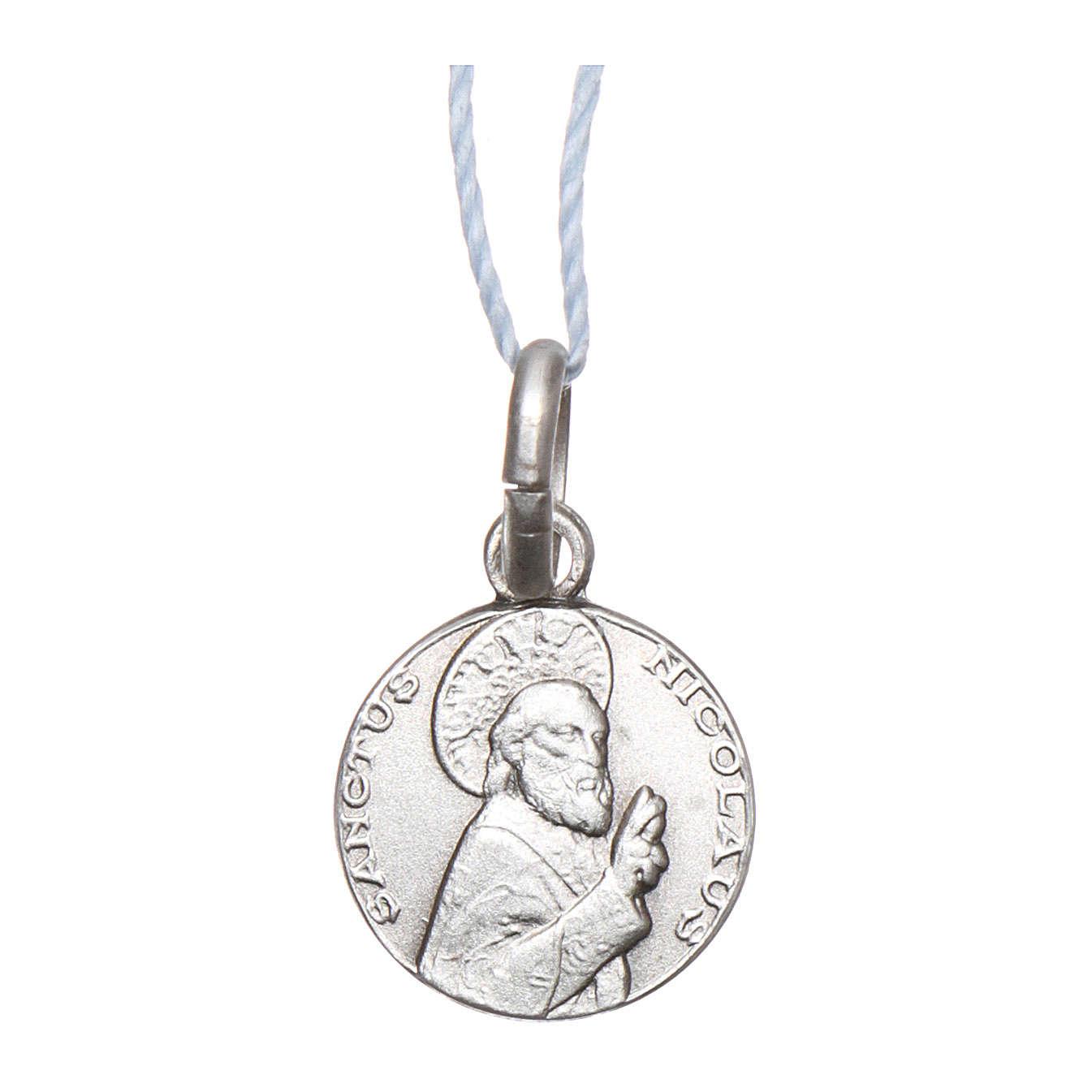 Medalha São Nicolau de Mira prata 925 radiada 10 mm 4