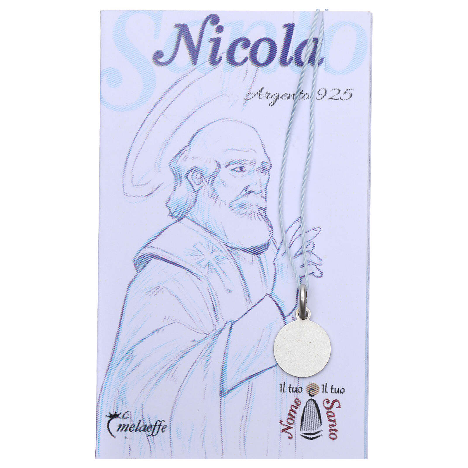 Saint Nicholas of Myra medal 925 silver finished in rhodium 0.39 in 4