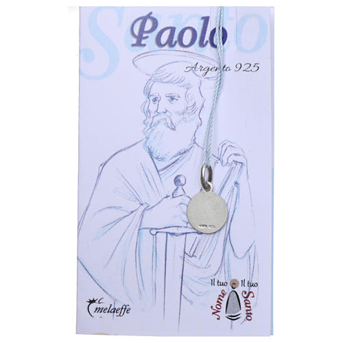 Rhodium plated medal with St. Paul 10 mm 2