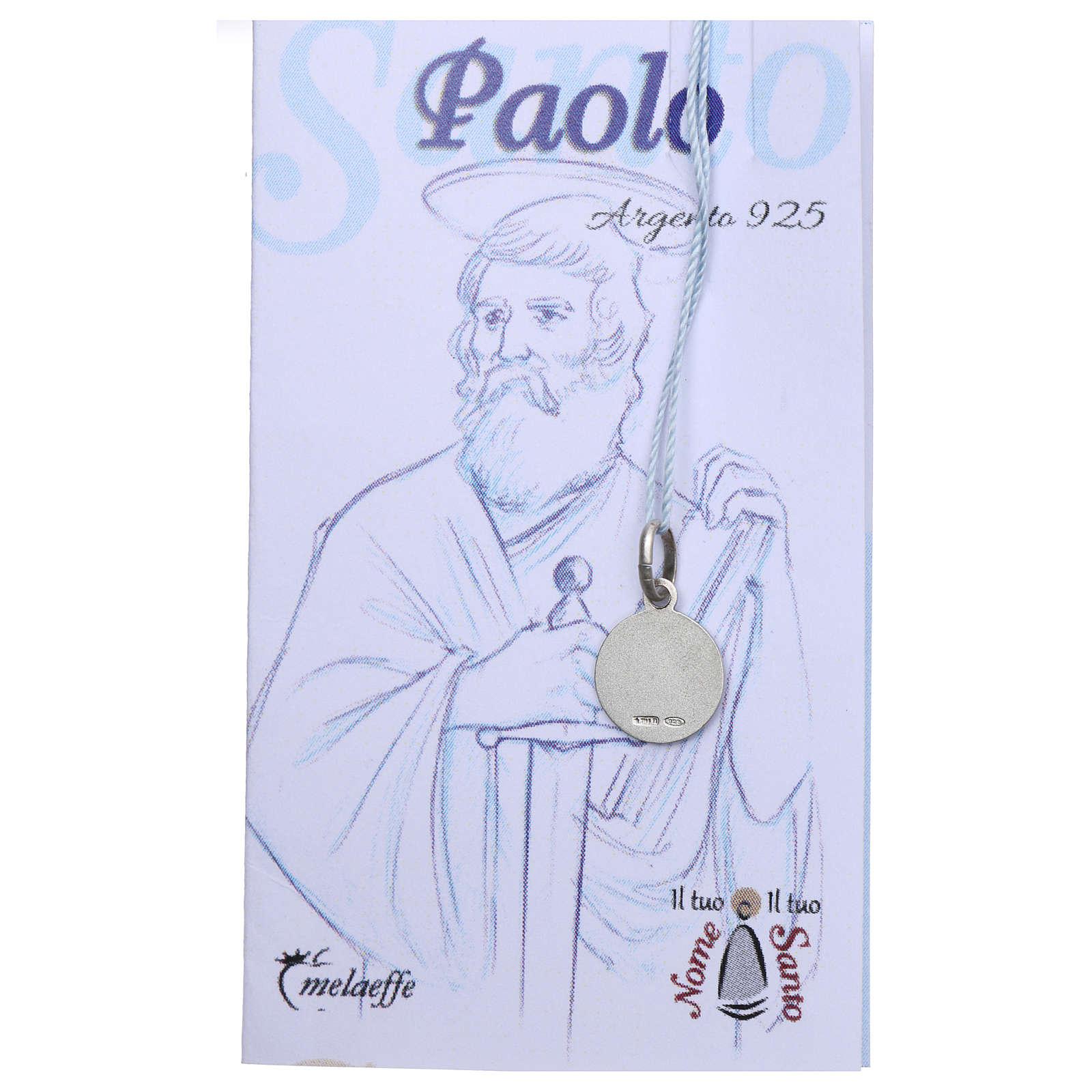 Medaglia San Paolo Argento 925 rodiata 10 mm 4