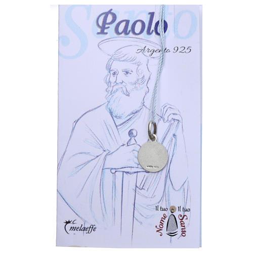Medaglia San Paolo Argento 925 rodiata 10 mm 2