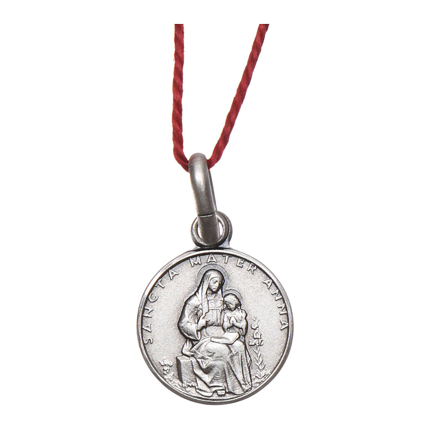 Saint Anne medal 925 silver finished in rhodium 0.39 in 4