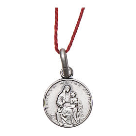 Saint Anne medal 925 silver finished in rhodium 0.39 in s1