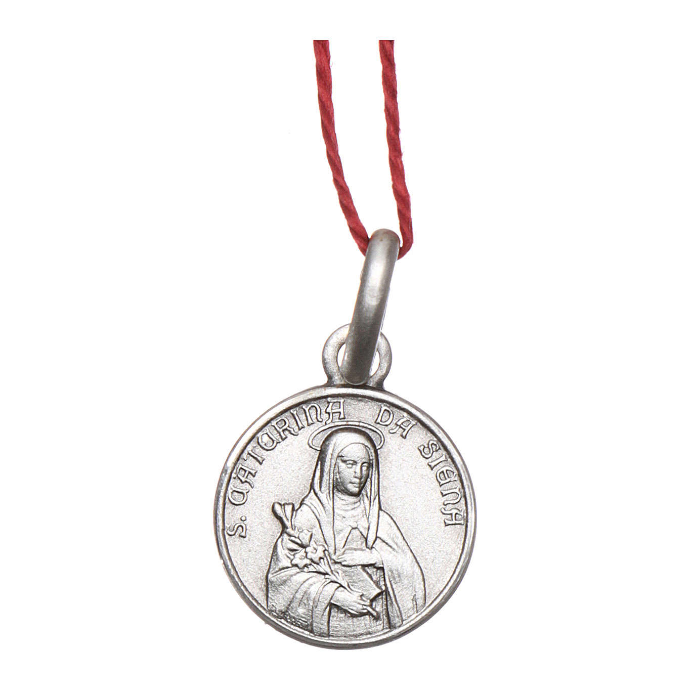 Rhodium plated medal with St. Catherine of Siena 10 mm 4