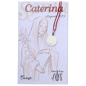 Rhodium plated medal with St. Catherine of Siena 10 mm s2