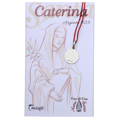 Rhodium plated medal with St. Catherine of Siena 10 mm 2