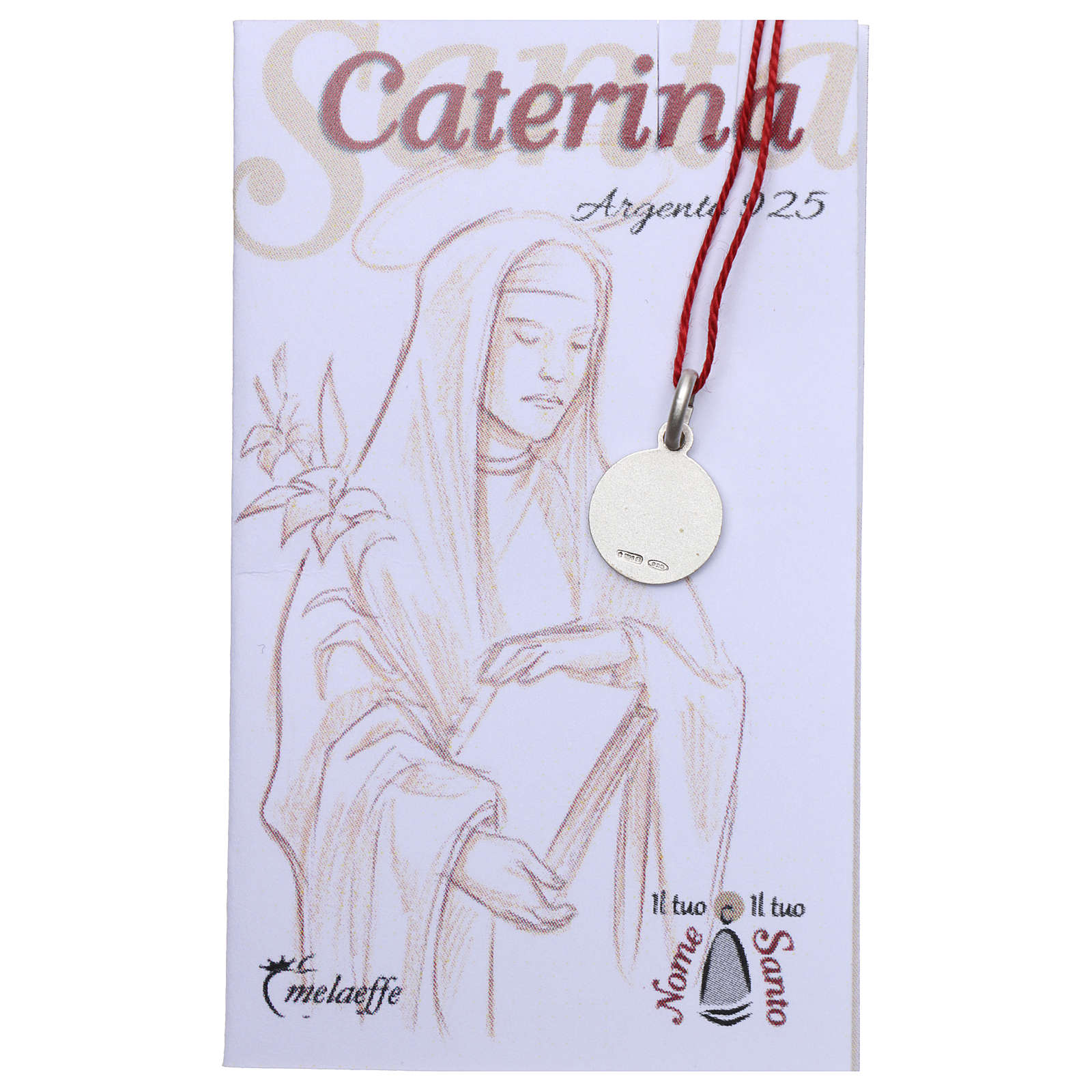 Medaglia Santa Caterina da Siena Argento 925 rodiata 10 mm 4