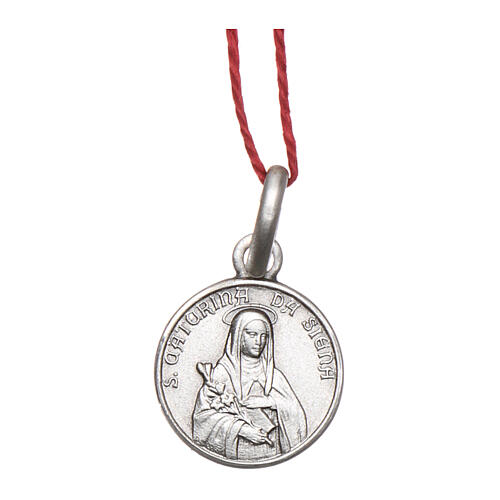 Saint Catherine of Siena medal 925 silver finished in rhodium 0.39 in 1