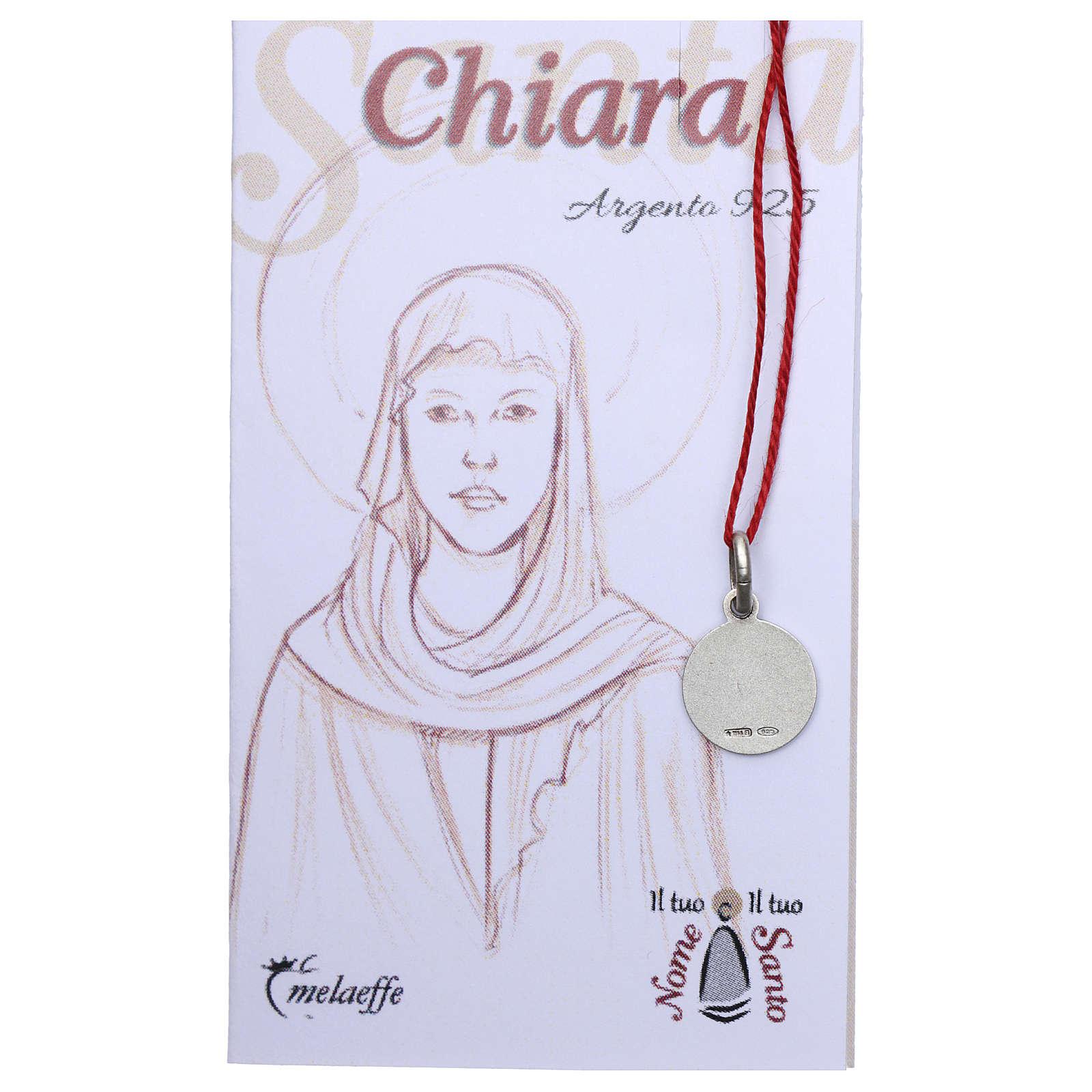 Medaglia Santa Chiara Argento 925 rodiata 10 mm 4