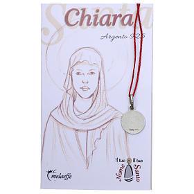 Medaglia Santa Chiara Argento 925 rodiata 10 mm s2