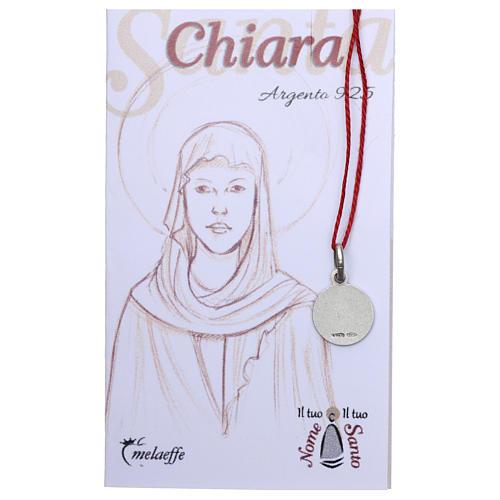 Medaglia Santa Chiara Argento 925 rodiata 10 mm 2