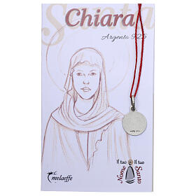 Saint Clare medal 925 silver finished in rhodium 0.39 in s2