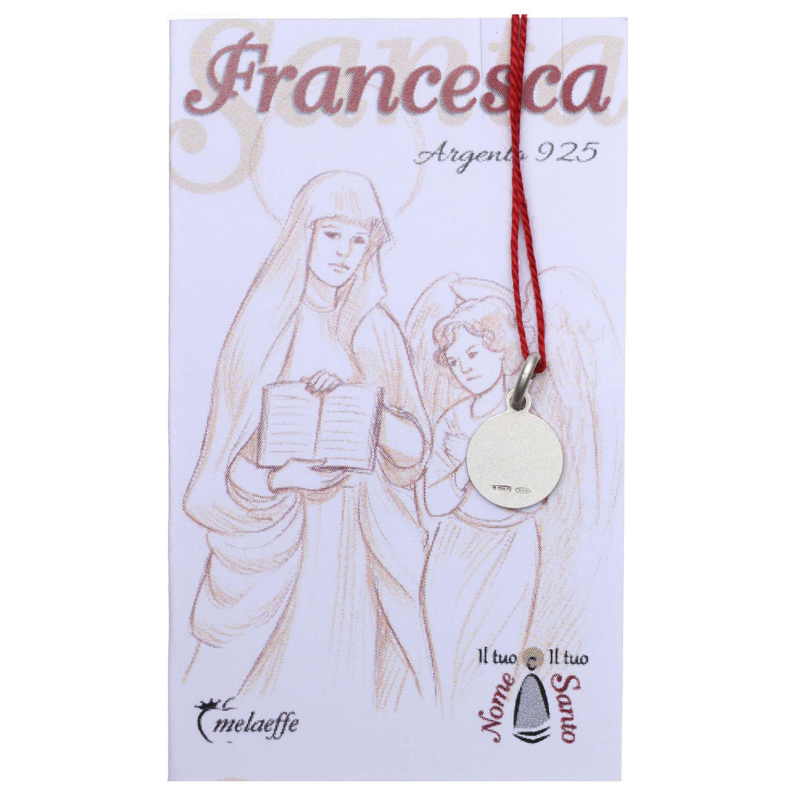 Medaglia Santa Francesca Romana Argento 925 rodiata 10 mm 4