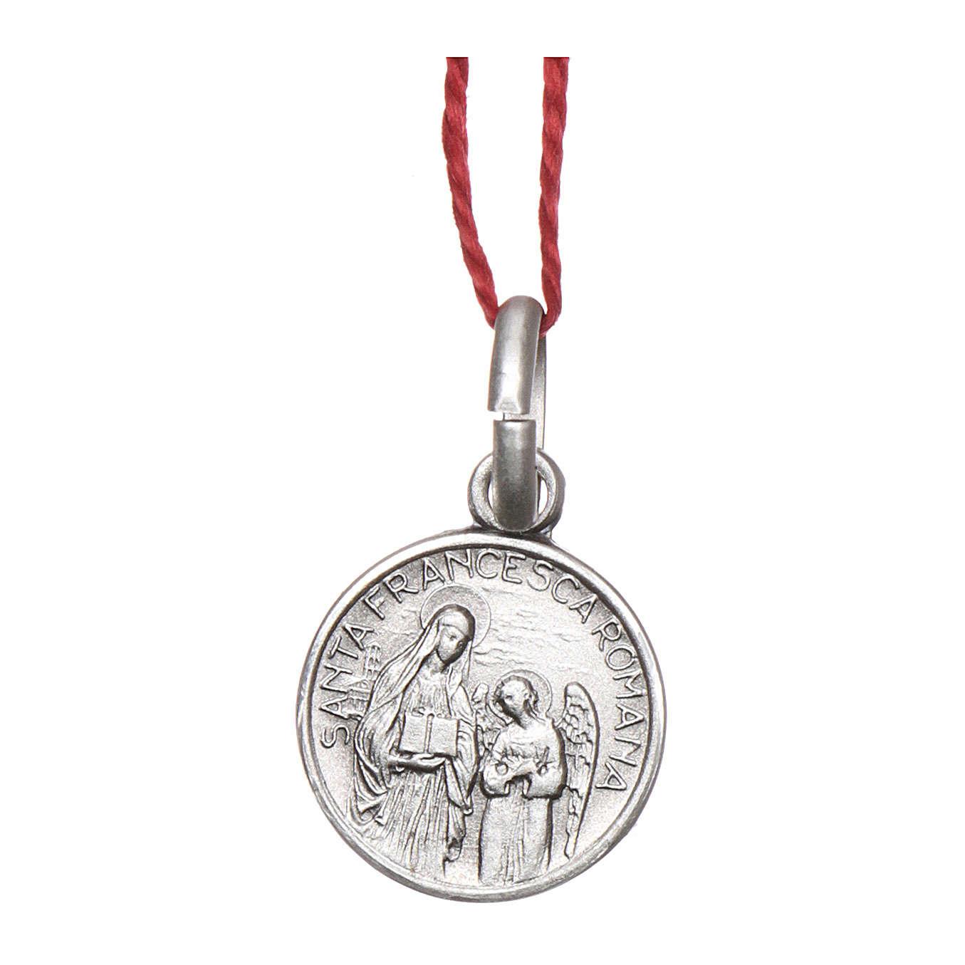 Medalha Santa Francisca Romana prata 925 radiada 10 mm 4
