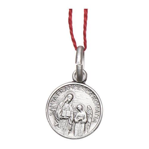 Medalha Santa Francisca Romana prata 925 radiada 10 mm 1