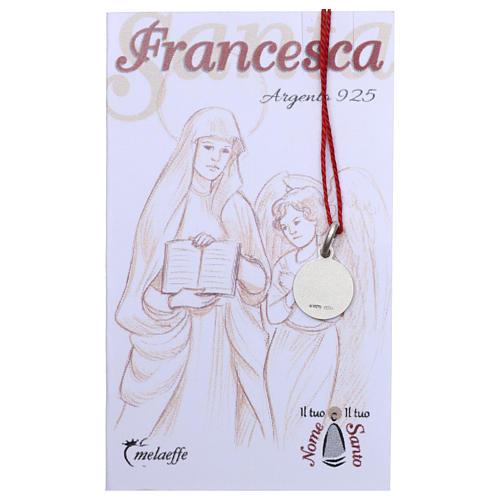 Medalha Santa Francisca Romana prata 925 radiada 10 mm 2