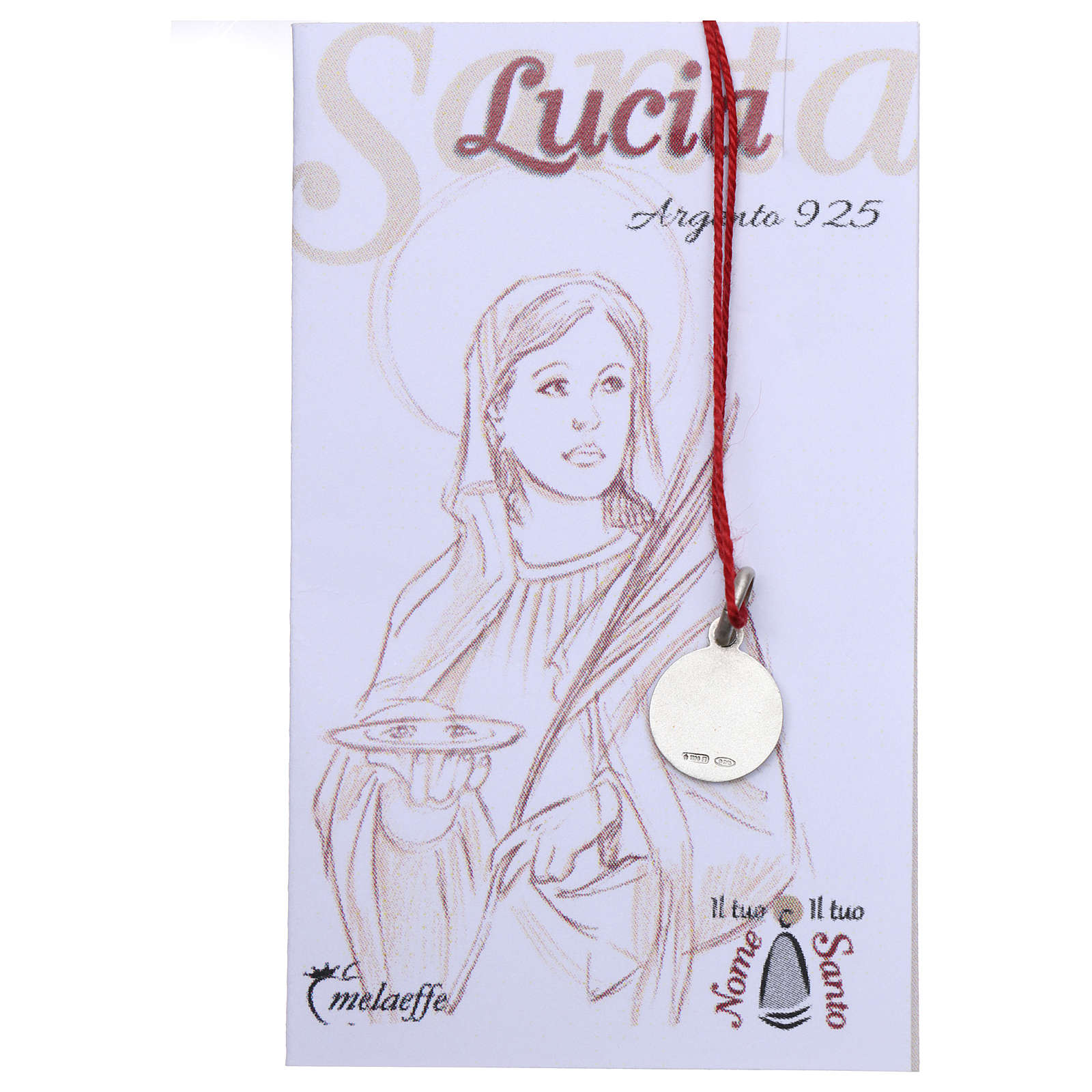 Rhodium plated medal with St. Lucia Goretti 10 mm 4