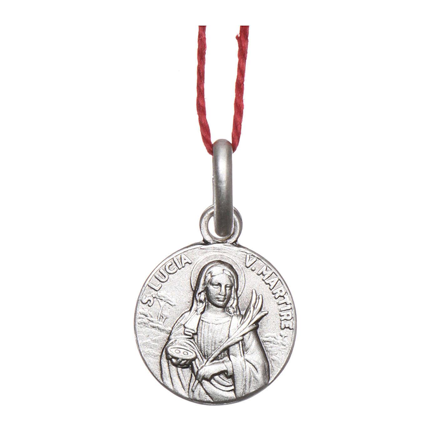 Medaglia Santa Lucia Argento 925 rodiata 10 mm 4