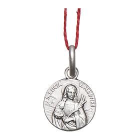 Medaglia Santa Lucia Argento 925 rodiata 10 mm s1