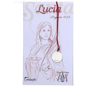 Medaglia Santa Lucia Argento 925 rodiata 10 mm s2
