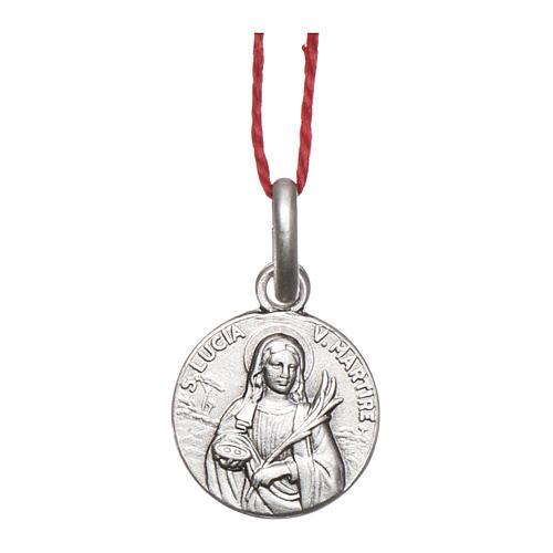 Medaglia Santa Lucia Argento 925 rodiata 10 mm 1