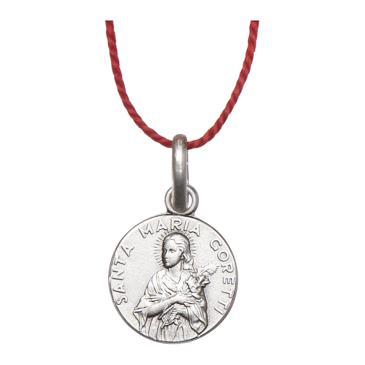 Rhodium plated medal with St. Maria Goretti 10 mm 4