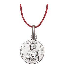 Rhodium plated medal with St. Maria Goretti 10 mm s1