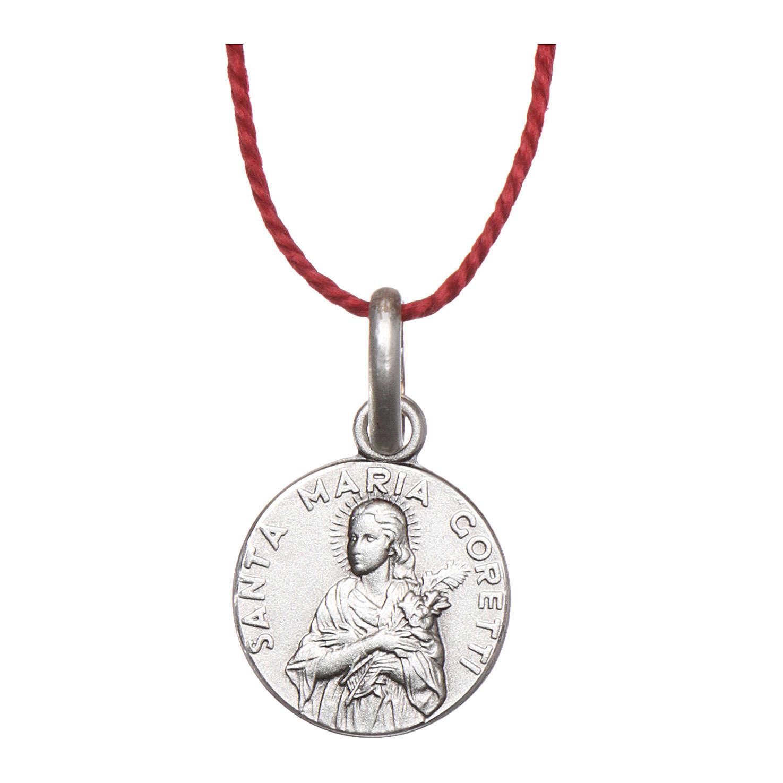 Medalla Santa María Goretti Plata 925 rodiada 10 mm 4