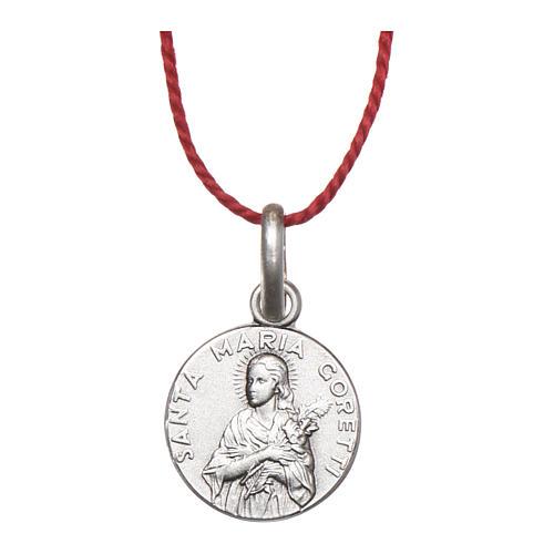 Medaglia Santa Maria Goretti Argento 925 rodiata 10 mm 1
