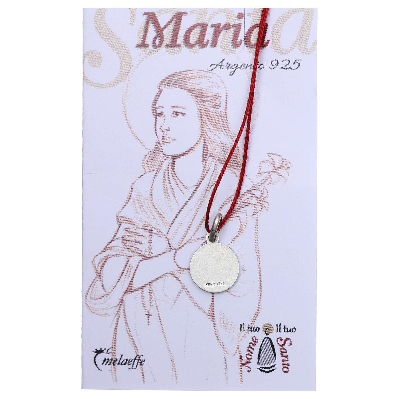 Medalha Santa Maria Goretti prata 925 radiada 10 mm 4
