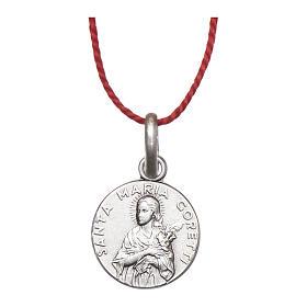 Medalha Santa Maria Goretti prata 925 radiada 10 mm s1