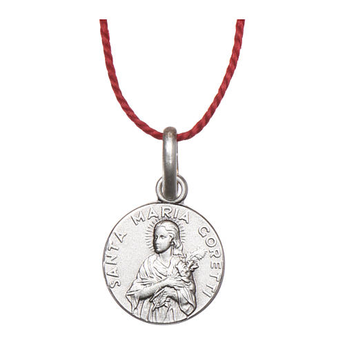 Medalha Santa Maria Goretti prata 925 radiada 10 mm 1