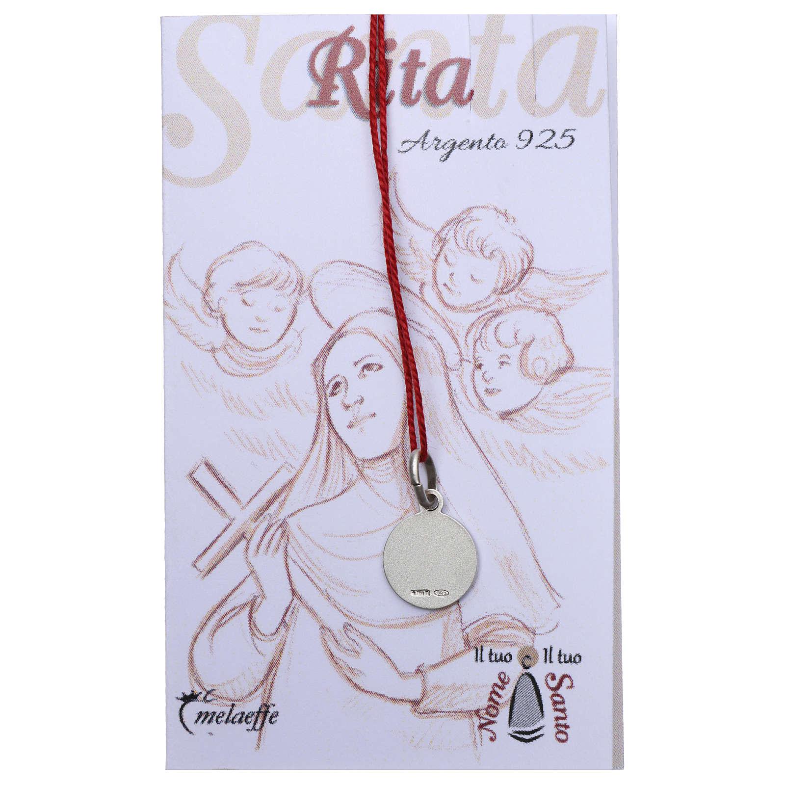 Medaglia Santa Rita da Cascia Argento 925 rodiata 10 mm 4