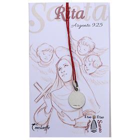 Medaglia Santa Rita da Cascia Argento 925 rodiata 10 mm s2
