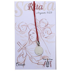 Saint Rita of Cascia medal 925 silver finished in rhodium 0.39 in s2