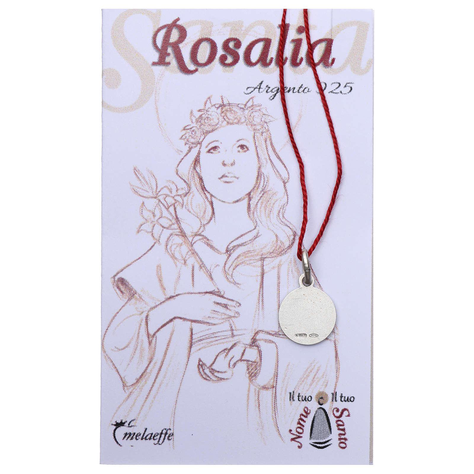 Medalha Santa Rosália prata 925 radiada 10 mm 4
